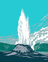 Fototapeta Castle Geyser a Cone Geyser Located in the Upper Geyser Basin in Yellowstone National Park Teton County Wyoming USA WPA Poster Art obraz