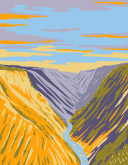Fototapeta Grand Canyon of Yellowstone on Yellowstone River Downstream from Yellowstone Falls in Yellowstone National Park Teton County Wyoming USA WPA Poster Ar obraz