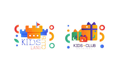 Obraz Kids Land Logo Set, Kindergarten, Playground, Game Area, Party for Children Bright Original Badges Flat Vector Illustration - fototapety do salonu