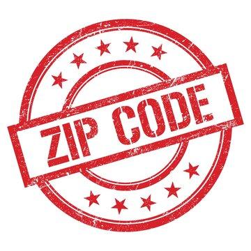 ZIP CODE text written on red vintage stamp.