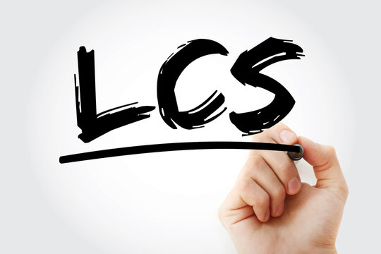 LCS - Least Cost Selection acronym with marker, business concept background