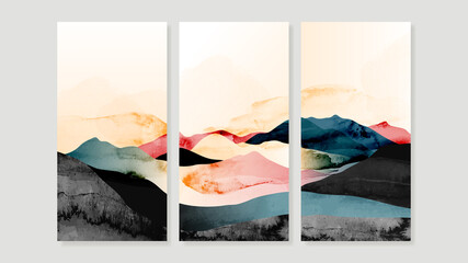 Fototapeta Mountain Canvas Art Print.  Triptych wall art vector. China Poster, Watercolor Landscape, Floating Mountains design for  Home Decor, Office Art and wallpaper. obraz