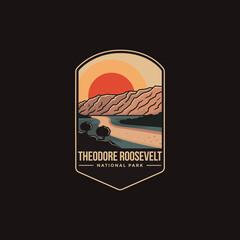 Fototapeta Emblem patch logo illustration of Theodore Roosevelt National Park on dark background obraz