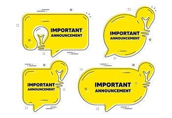 Obraz Important announcement text. Idea yellow chat bubbles. Special offer sign. Advertising discounts symbol. Important announcement chat message banners. Idea lightbulb balloons. Vector - fototapety do salonu