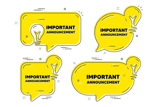 Important announcement text. Idea yellow chat bubbles. Special offer sign. Advertising discounts symbol. Important announcement chat message banners. Idea lightbulb balloons. Vector
