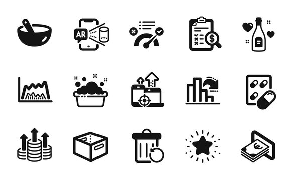 Vector set of Office box, Cooking mix and Love champagne icons simple set. Trade chart, Augmented reality and Correct answer icons. Twinkle star, Budget and Decreasing graph signs. Vector