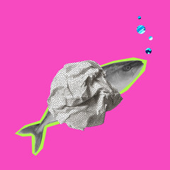 Contemporary art collage, modern design. Summertime mood. Fish swimming, diving isolated on bright pink, magenta neon background.
