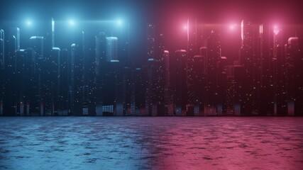 3D-weergave van abstracte neon megastad met lichtreflectie van plassen op straat. Concept voor het nachtleven, slaap nooit zakendistrictscentrum (CBD) Cyberpunkthema.