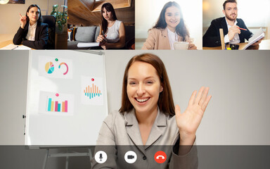 Greetings colleagues, business partners. Team working by group video call share ideas brainstorming...
