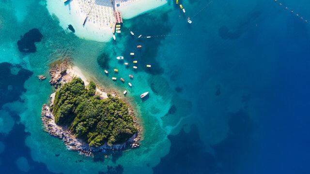 Beautiful beach with blue sea in Ksamil. Albania, Europe.