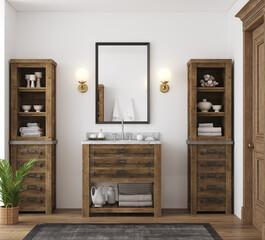 Fototapeta White cozy bathroom interior, farmhouse style, 3d render obraz