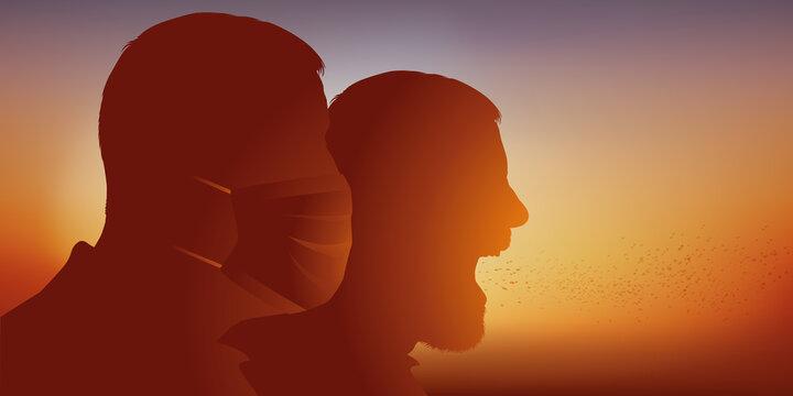 Concept de la contagion et de la protection contre une épidémie avec deux hommes, dont l'un porte un masque chirurgical, tandis que l'autre postillonne.