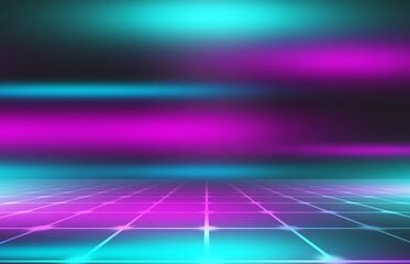 Obraz Neon abstract light rays on a dark background. Light effect, laser show, surface reflection. Ultraviolet radiation, nightclub. 3d illustration - fototapety do salonu