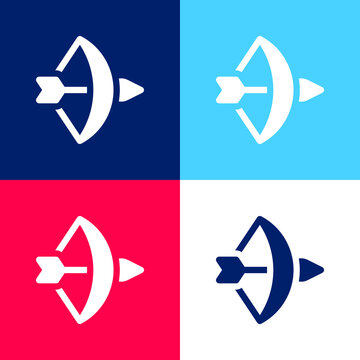Bow And Arrow blue and red four color minimal icon set