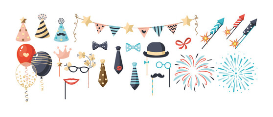 Fototapeta Set of birthday party decoration. Festive kit happy anniversary day rocket fireworks, balloons, gifts, flags, gifts, carnival masks, sweet cake for celebrating holiday obraz