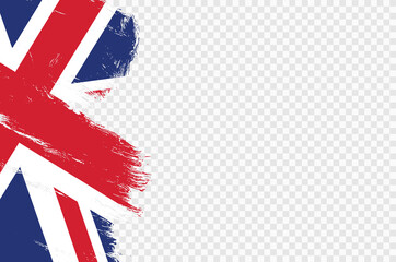 Fototapeta UK flag with brush paint textured isolated  on png or transparent  background,Symbols of United Kingdom,Great Britain , template for banner,card,advertising ,promote,ads, web design, magazine,vector obraz