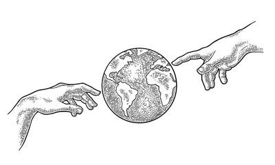 Obraz Earth planet globe. Vector black vintage engraving illustration - fototapety do salonu