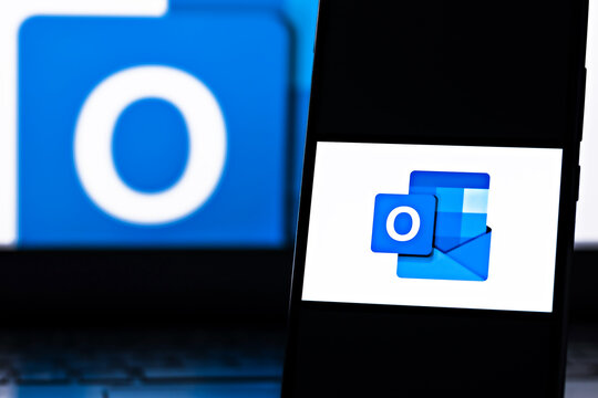 Editorial photo on Microsoft Outlook theme.  Illustrative photo for news about Microsoft Outlook - a personal information manager software system from Microsoft