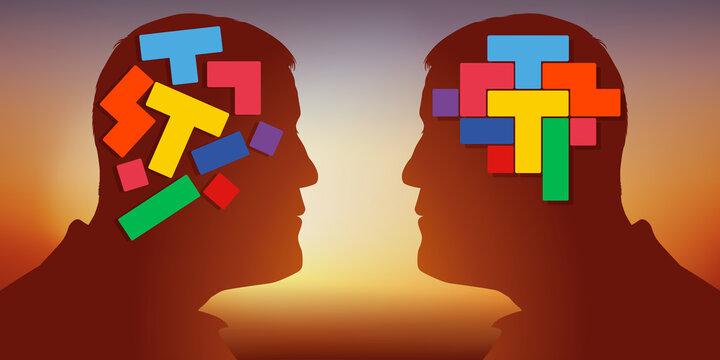 Concept du contraste d'un esprit créatif et un raisonnement cartésien, avec deux hommes face à face, qui opposent deux cerveaux différents.