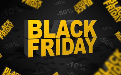 Fototapeta black friday napis, 3D, Promocja obniżenie cen obraz