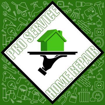 Affiche pour une entreprise de travailleurs professionnels spécialisés dans les métiers de réparations de la maison.