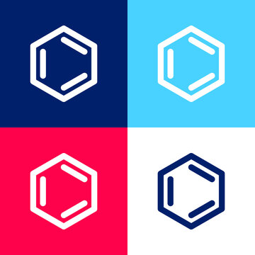Benzene blue and red four color minimal icon set