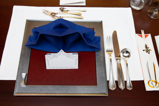 A photo of Takasago at the wedding. Bride and groom table setting