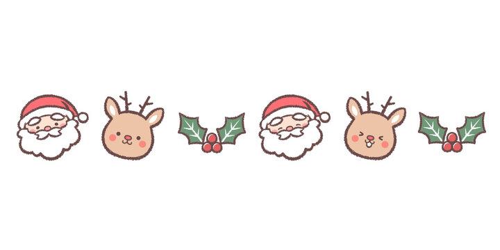 サンタクロースとトナカイとヒイラギのライン