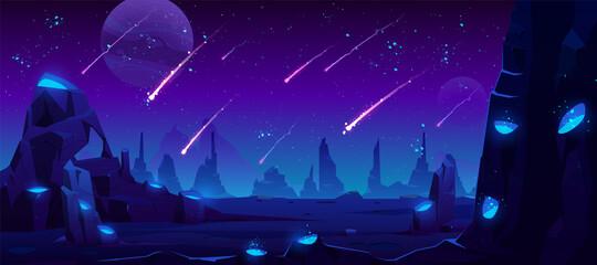 Meteoorregen bij nachthemel, neonruimteachtergrond