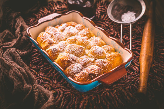 Buchteln filled with plum jam or jelly, sweet rolls.