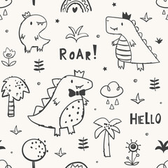 Childish seamless pattern with cute dinosaur family. Perfect for fabric, wallpaper, wrapping paper, textile. Hand drawn vector illustration