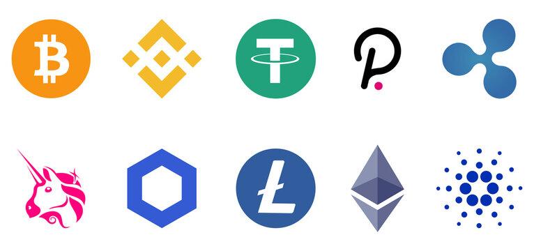 Vinnytsia, Ukraine - July 20, 2021. Set of cryptocurrency logo. Bitcoin, Ethereum, Binance, Tether, XRP, Polkadot, Cardano, Uniswap, Litecoin, Chainlink. Editorial vector illustration