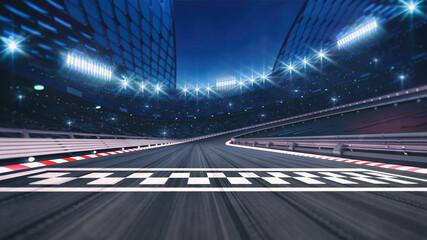 Fototapeta Asphalt racing track finish line and illuminated race sport stadium at night. Professional digital 3d illustration of racing sports. obraz