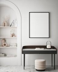Obraz mock up poster frame in modern interior background, living room, minimalistic style, 3D render, 3D illustration - fototapety do salonu