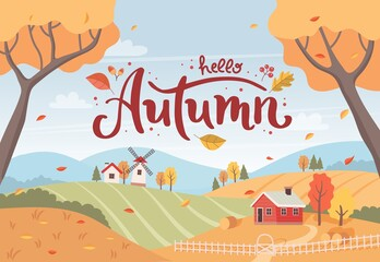 Fototapeta Autumn rural landscape with hand drawn lettering. Countryside landscape with houses and windmill. Vector illustration in flat style obraz
