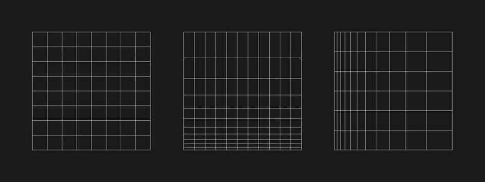 Set of retrofuturistic grid. Digital cyber retro design elements. Collection of grids in cyberpunk 80s style. Rectangular geometry for poster, cover, merch in retrowave style. Vector