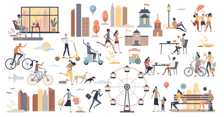 Obraz City life scenes and daily urban routine elements tiny person collection set. Environment with real estate, business office, transportation, family recreation and everyday moments vector illustration. - fototapety do salonu