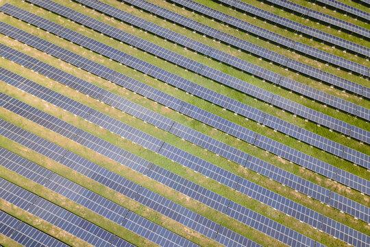Aerial view solar farm in Thailand