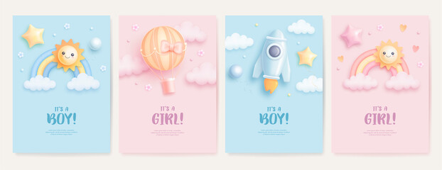 Obraz Set of baby shower invitation with cartoon rainbow, sun, rocket and hot air balloon on blue and pink background. It's a boy. It's a girl. Vector illustration - fototapety do salonu