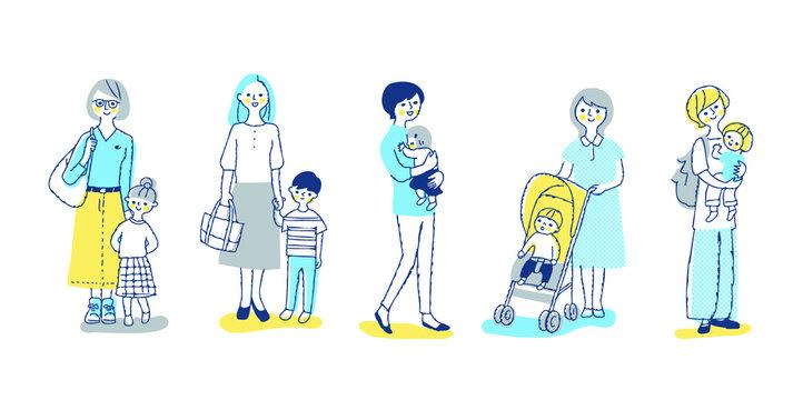 複数のママと子供 全身 セット