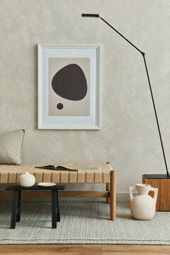 Stylish composition of cozy living room interior with mock up poster frame, pillow on the chaise longue, black modern minimalistic lamp on the wooden cube and elegant personal accessories.