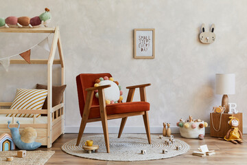 Fototapeta Stylish composition of cozy scandinavian child's room interior with wooden bed, red armchair, plush and wooden toys and textile decorations. Creative wall, carpet on the floor. Copy space. Template. obraz