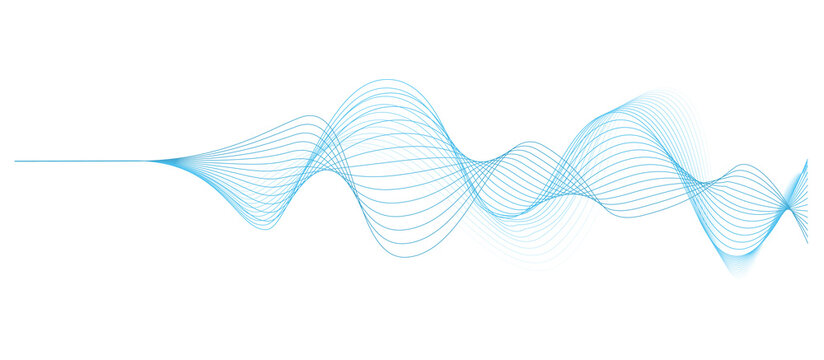 background with abstract vector blue colored sound wave lines