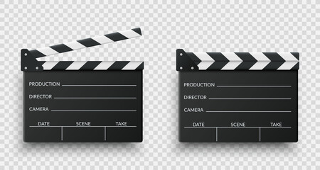 Realistic black movie clappers board set. Clapboards open and closed. Movie, cinema, film symbol concept. Director clapboard. Filmmaking, video production industry equipment. Vector illustration