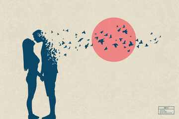 Obraz Lovers silhouette. Loving couple and flying birds. Death and afterlife - fototapety do salonu