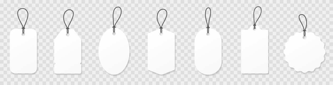 Set blank white paper price tags or gift tags. Paper labels with cord. Set template shopping labels with shadow - stock vector.