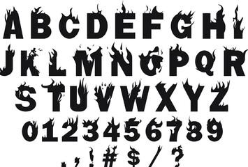 Obraz Vector of the fire alphabet A-z and symbols - fototapety do salonu