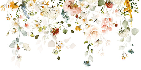 Fototapeta Set watercolor arrangements with garden roses. collection pink, yellow flowers, leaves, branches. Botanic illustration isolated on white background. obraz