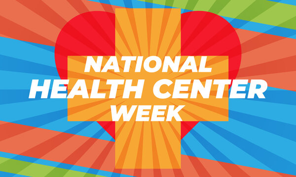 National Health Center Week in August. Poster, card, banner, background design.