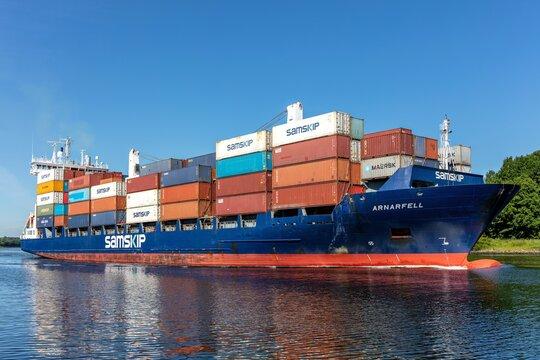 KIEL, GERMANY - JUNE 13, 2021: Samskip container ship ARNARFELL in the Kiel Canal